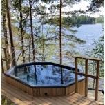 Hot tub 1600 l fiberglass, terrace set