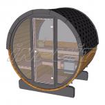 Barrel sauna/steam room RON 4 with half-moon + fullmoon window