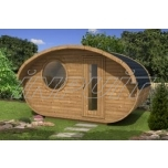 Oval sauna MINI PORCINE with two rooms