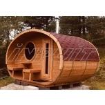 Oval sauna LITTLE PORCINE with terrace