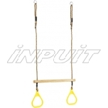 Wooden trapeze with plastic handles
