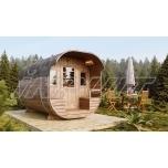 Barrel sauna MONT-BLANC with half-moon window